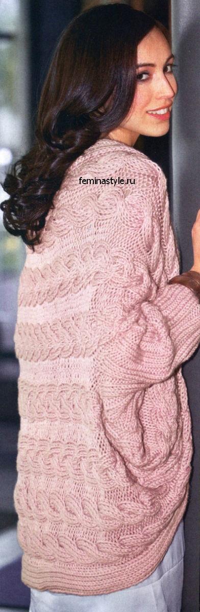 Вязание спицами и крючком шали-жакета