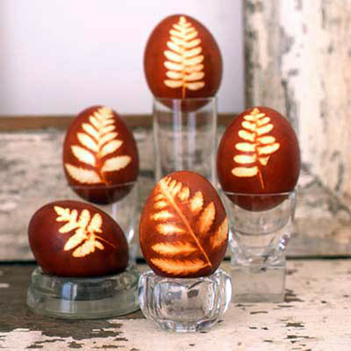 Яйца с ботаническим принтом.
