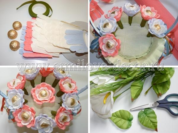 Как сделать корзину цветов с конфетами