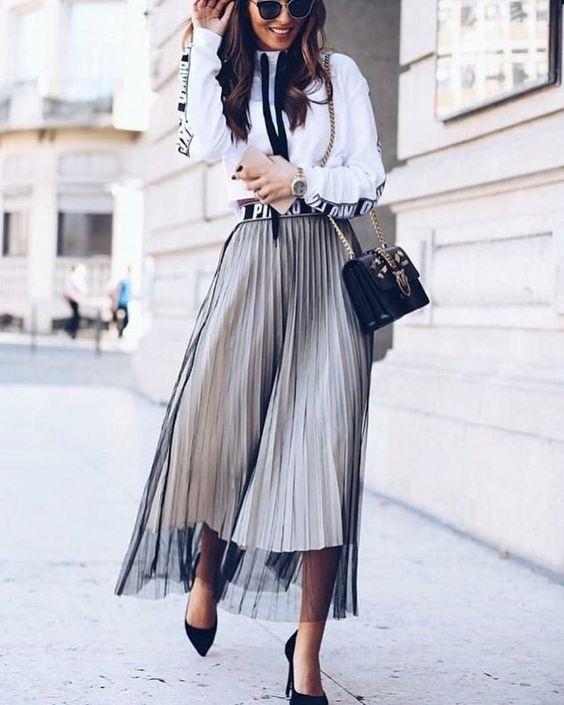 Двойная юбка плиссе