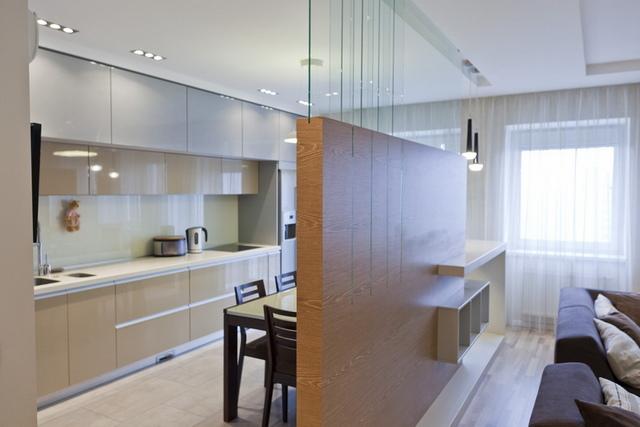 как отделить кухню от комнаты в квартире студии