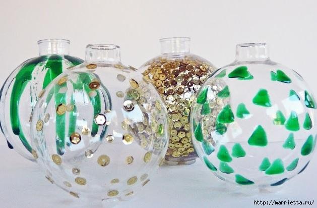 Для праздничной сервировки стола. Вазочки из елочных шаров (2) (629x412, 162Kb)