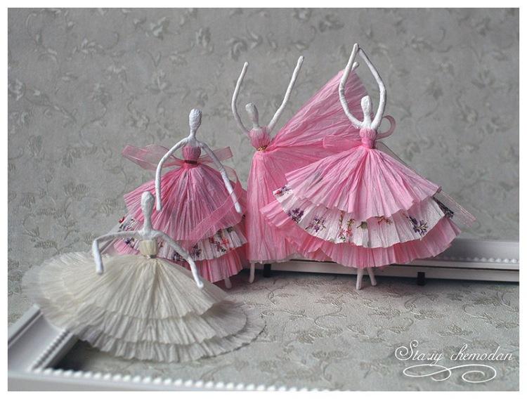 Балеринки из проволоки и салфеток-МК.