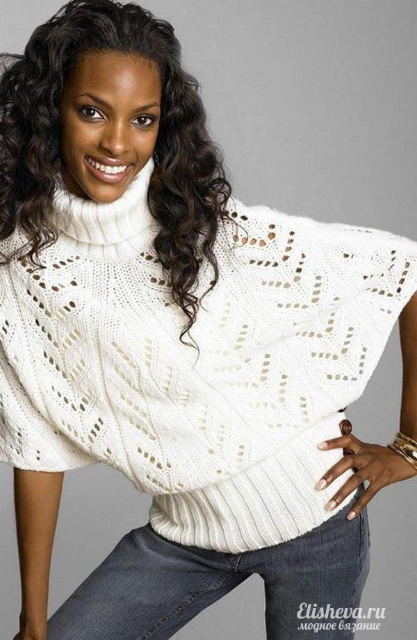 """Пуловер-пончо """"Белый парус"""" вязаный спицами"""