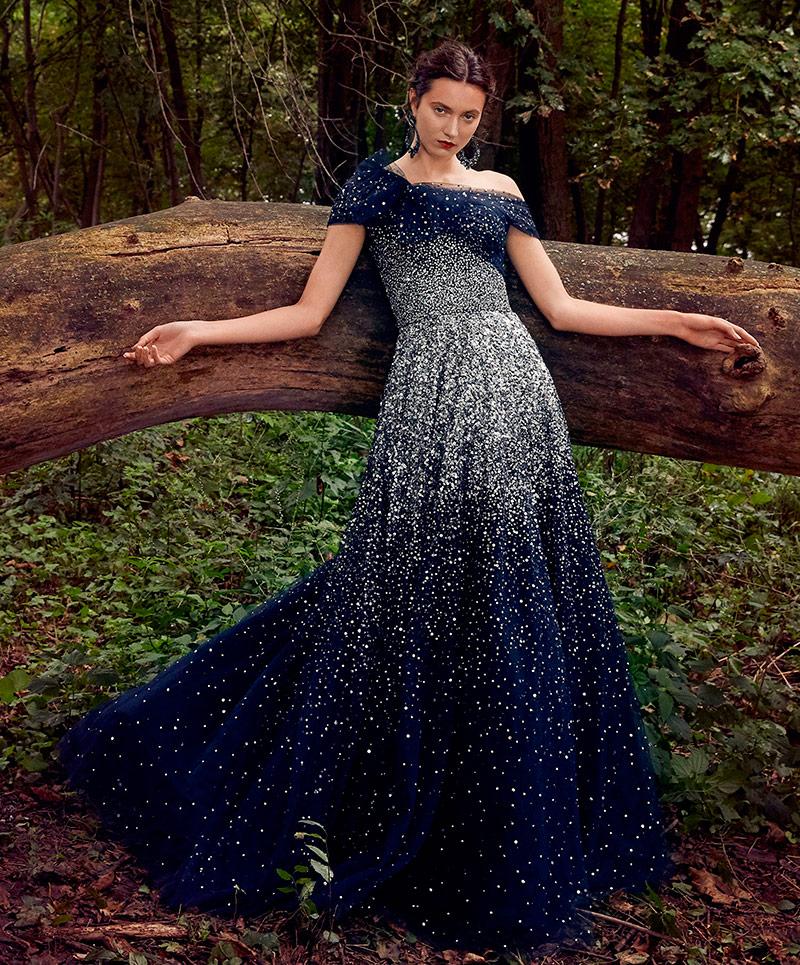 Темно-синее платье Marchesa