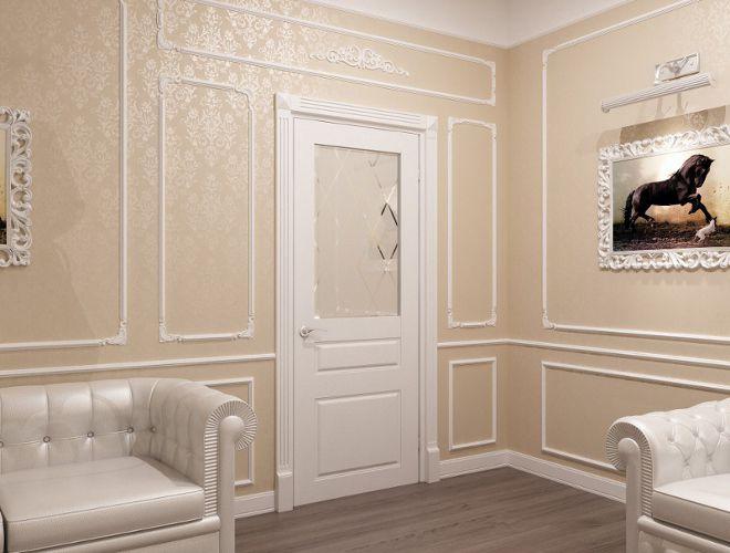 гостиная современная классика двери белые