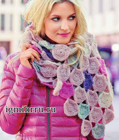 шарф из разноцветных кругов