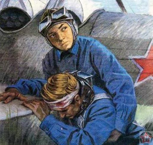 Аркадий Каманин помогает раненому
