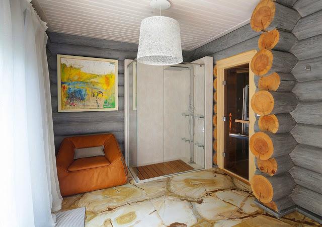 Современный интерьер бревенчатого дома в Подмосковье