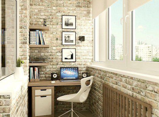 Как устроить рабочий кабинет на балконе?