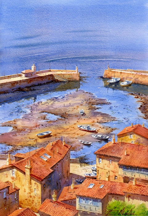 Тихая пристань, где зыблются лодки... Художник Faustino Martin Gonzalez