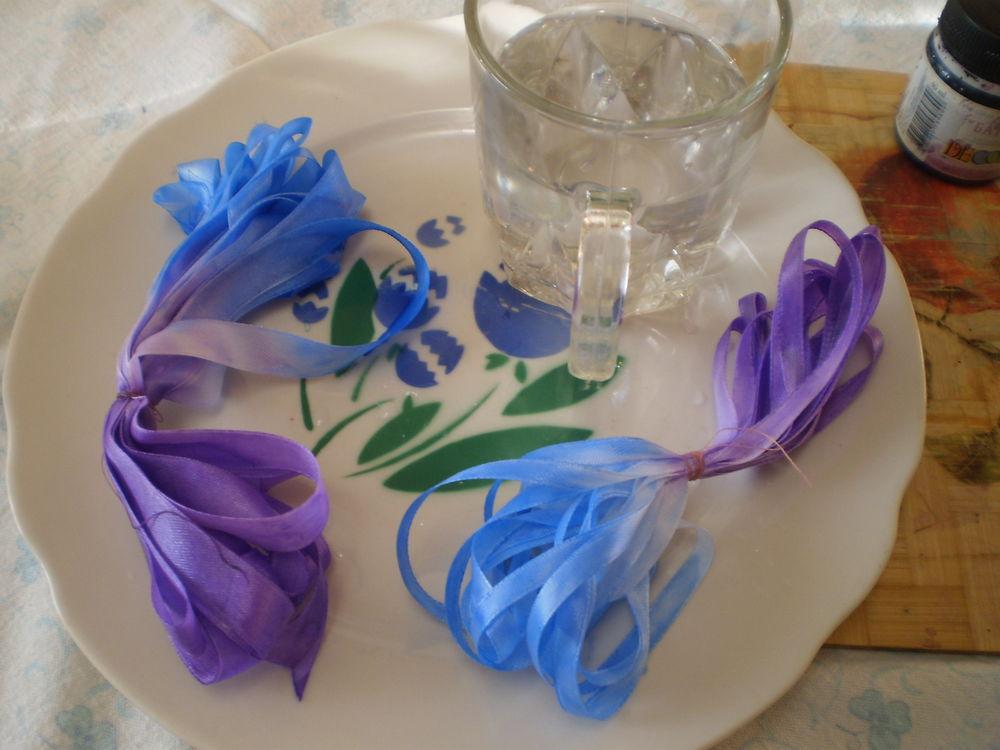 Чем красить ленты для вышивки 2