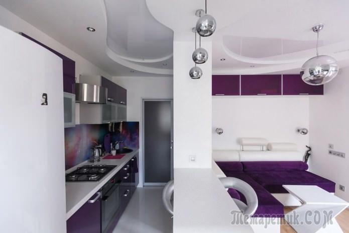 Бело-фиолетовый интерьер ква…