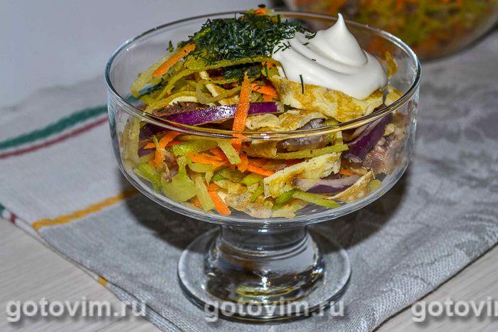 Салат из зеленой редьки с мясом и яичными блинчиками. Фотография рецепта