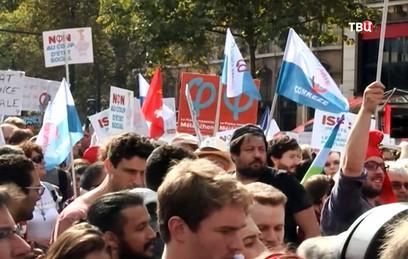 Около 150 тысяч человек протестуют в Париже из-за трудовой реформы