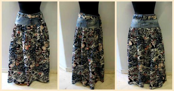 Как переделать старые джинсы в шикарную юбку за 45 минут