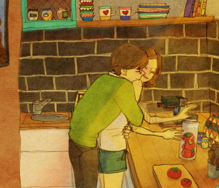 Теплые акварельные иллюстрации о любви от южнокорейской художницы