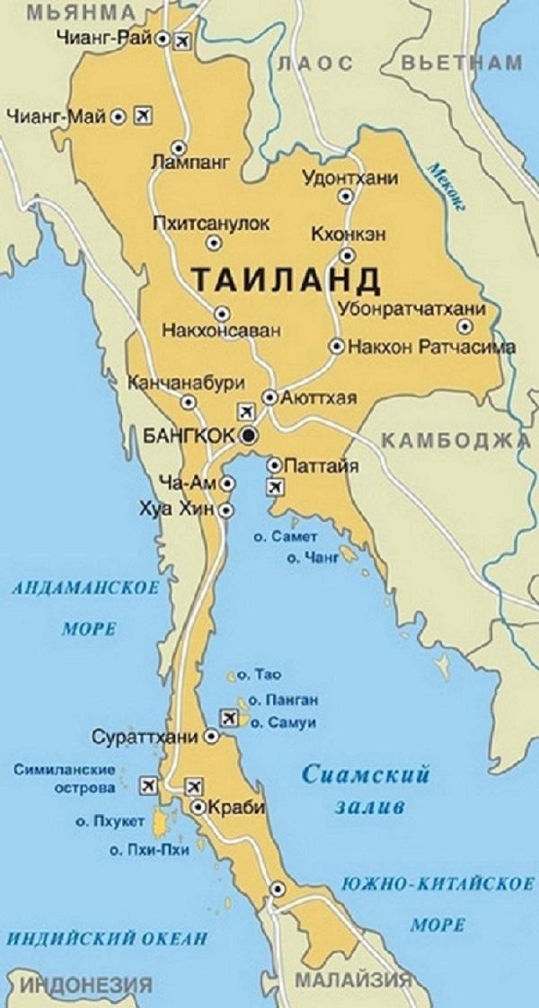 Карта таиланда с курортами на русском языке