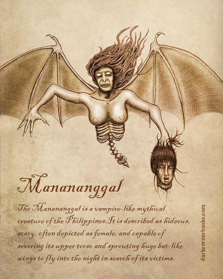 8. Мананангал (Manananggal) жуть, иллюстрация, мифические существа, рисунок