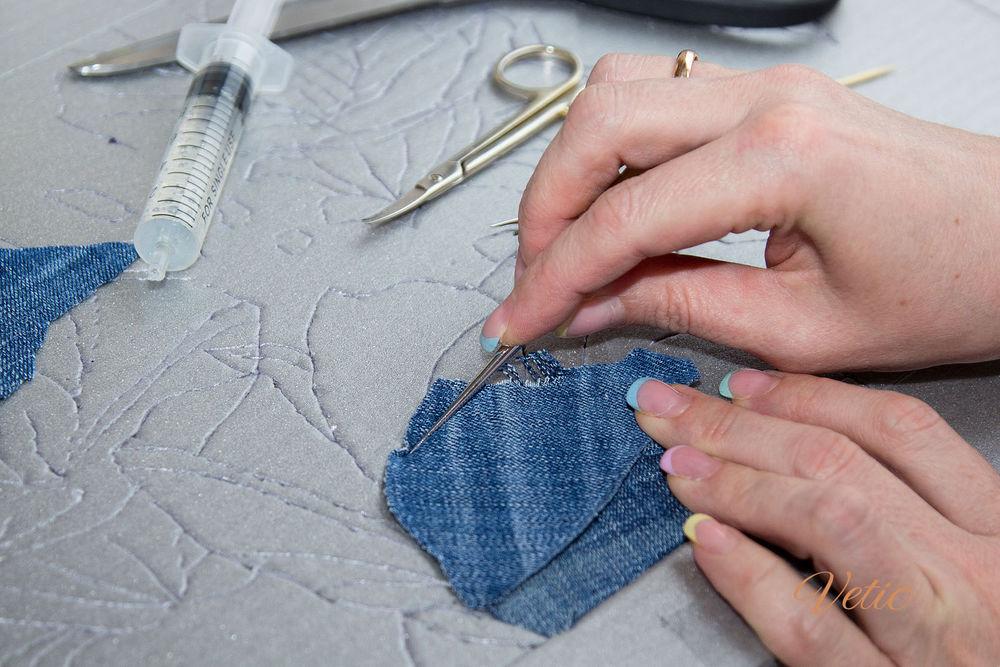Делаем джинсовый чемодан для рукоделия. Работаем в технике кинусайга
