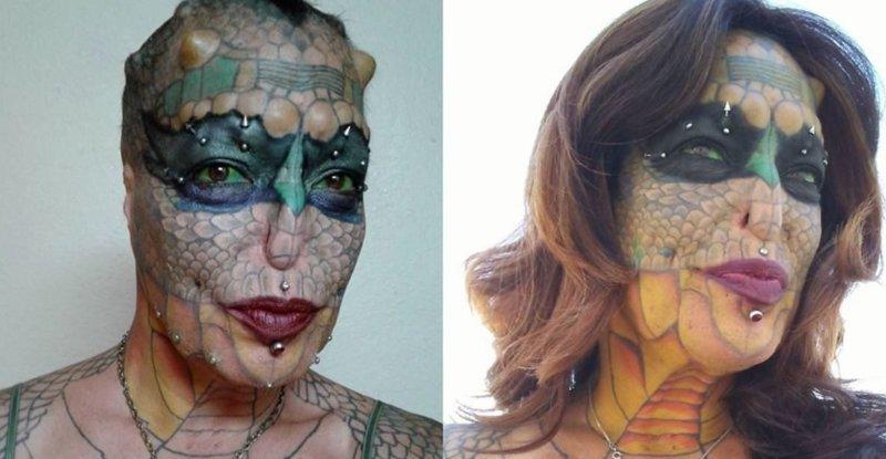 Женщина сделала пластическую операцию, чтобы быть похожей на рептилию