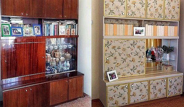 Интересная переделка старой мебели.  Такая мебель еще может послужить на даче.