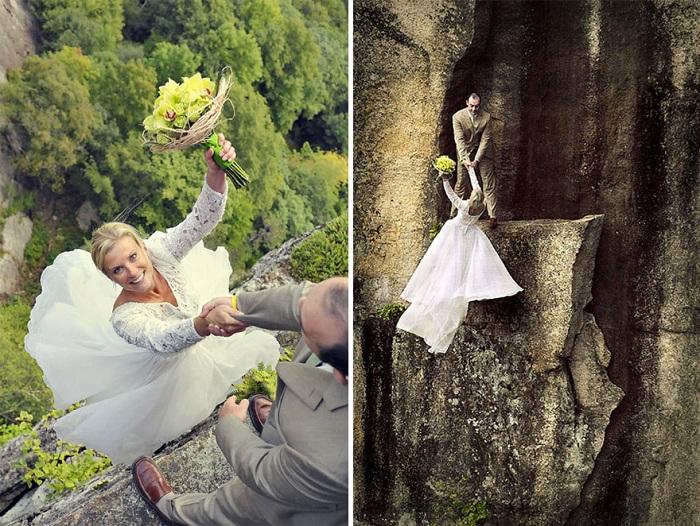 Романтика и немного экстрима: нереально потрясающая фотосессия на скалистом уступе