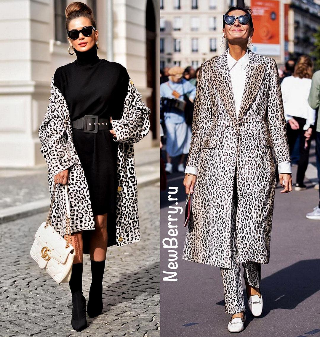 Леопардовые пальто и шубы. Примеры на модных блогерах