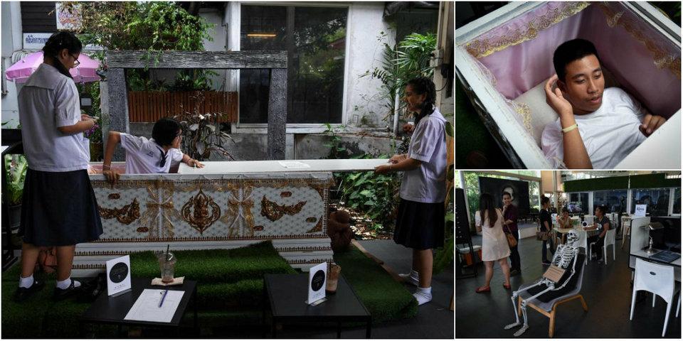«Кафе смерти» в Бангкоке, где клиенты могут расслабиться в гробу
