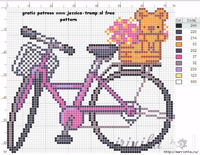 Вышиваем велосипед. Идеи со схемами (9) (700x542, 402Kb)