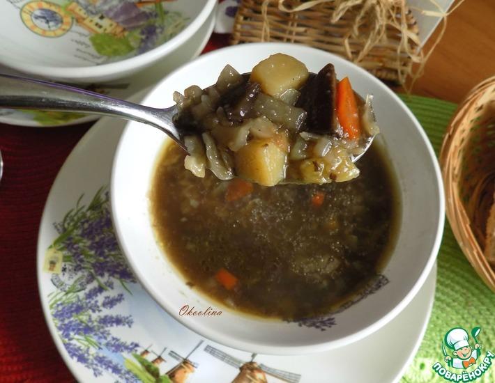 Рецепт: Постные грибные щи с обжаренными овощами