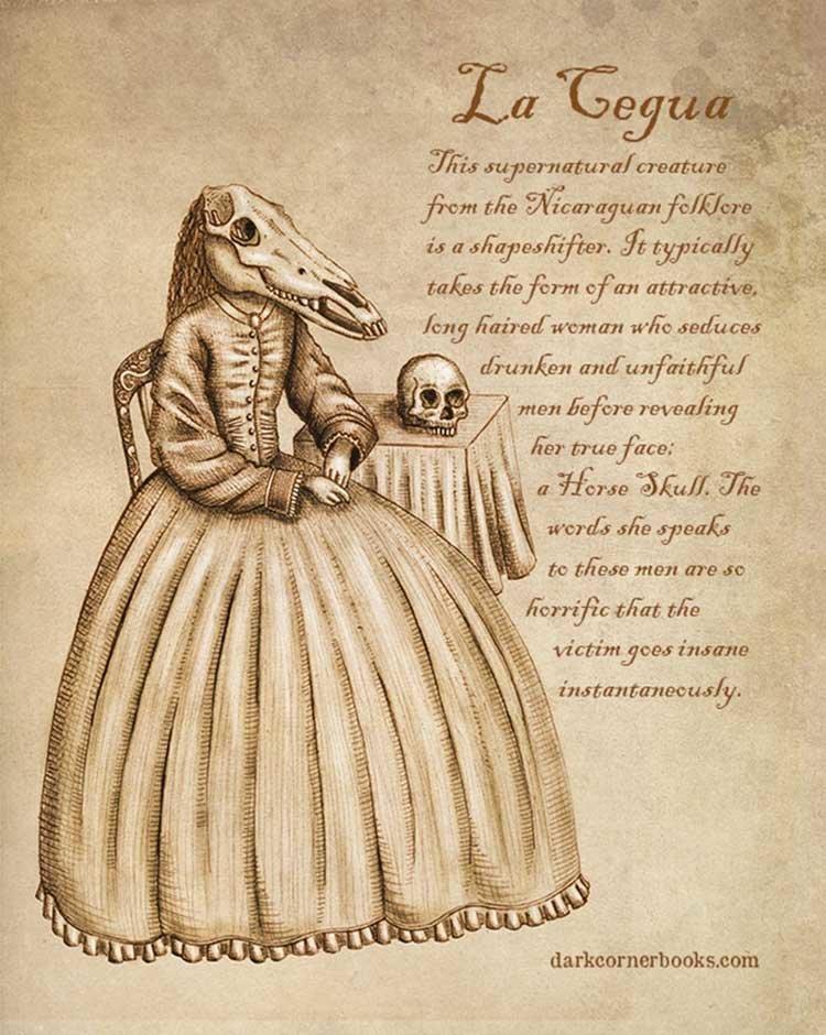 2. Ла Цегуа (La Cegua) жуть, иллюстрация, мифические существа, рисунок