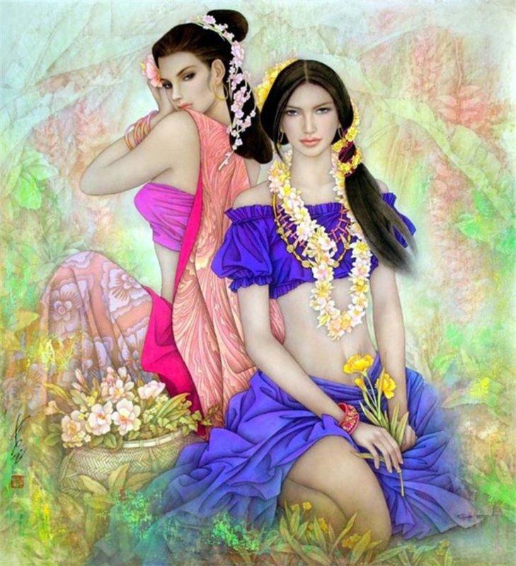 Изысканные женские образы. Китайский художник Фэн-Чан