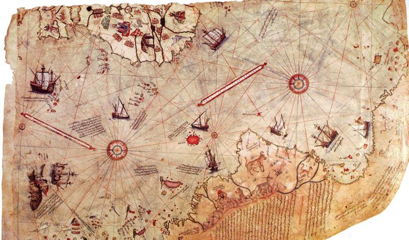 Карта Пири-Рейса Карту датируют началом XIV-го века. Здесь, с высокой точностью, изображены места, куда еще никак не могли добраться мореплаватели в ту пору. Южная и Северная Америки, Африка и даже Арктика — что характерно, покрытая густым лесом. Авторство карты приписывают известному путешественнику Пири Рейсу, чья историческая достоверность не поддается сомнению.