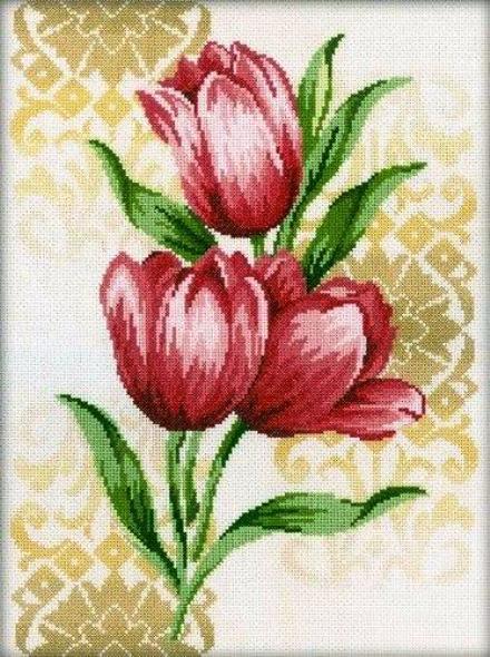 """Схемы к изящной вышивке крестом """"Тюльпаны"""""""