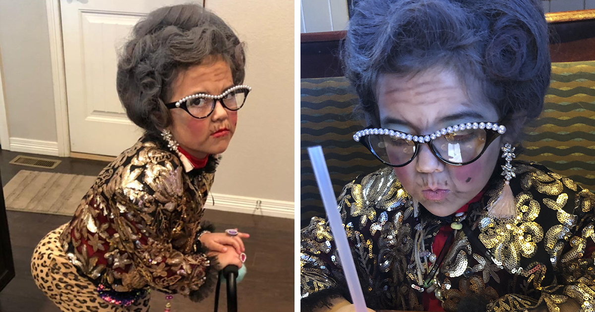 6 Y.O Asks To Dress Up As A 100 Y.O. Lady For Kindergarten 100 Day Party, And It's Hilarious
