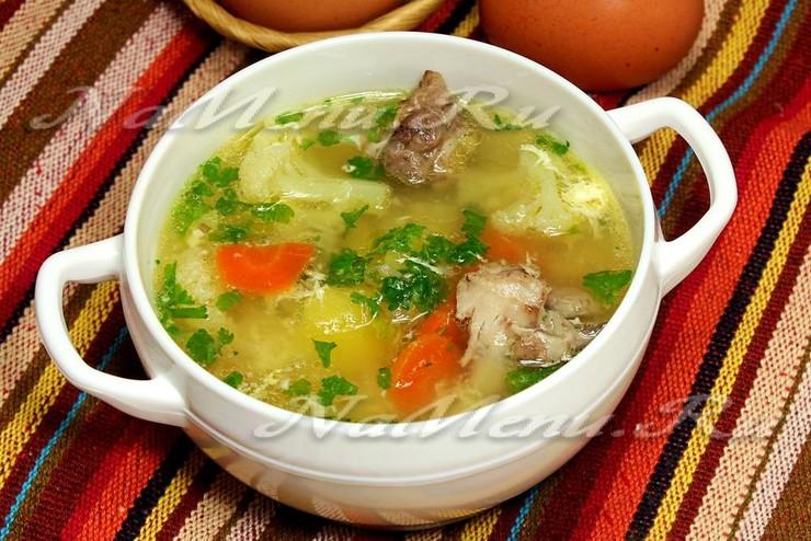 Яичный суп с овощами