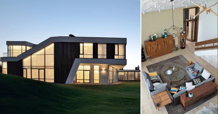 Подмосковный шик: двухуровневый загородный дом с эклектичным дизайном