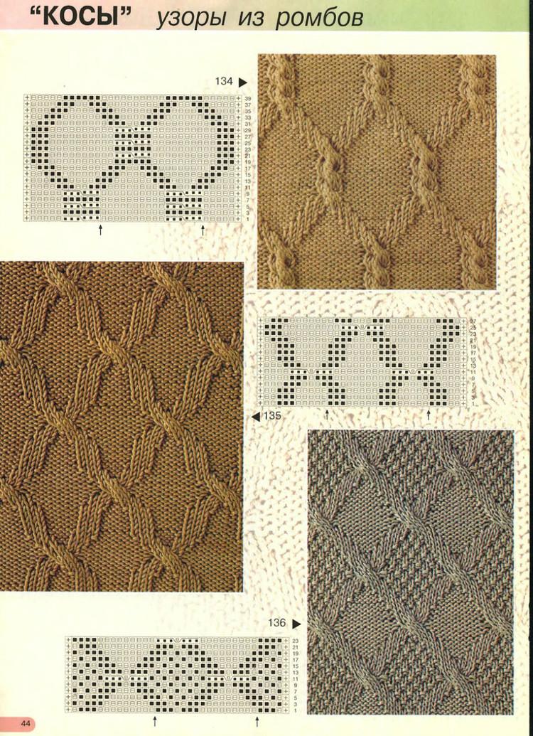 Вязание спицами узоры из ромбов и жгутов