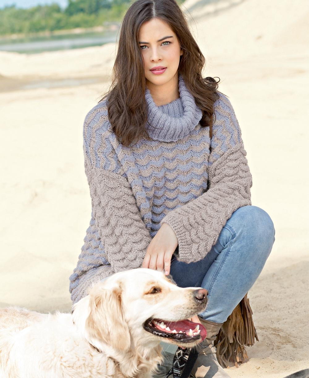 Двухцветный свитер со структ…