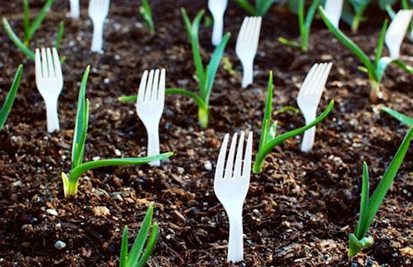 пластиковые вилки в земле