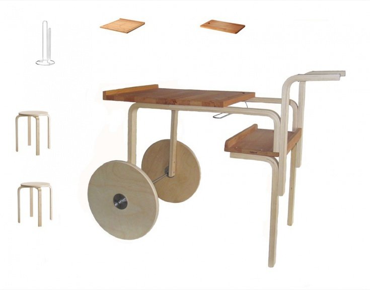 Сервировочный столик из табурета Фроста (diy)