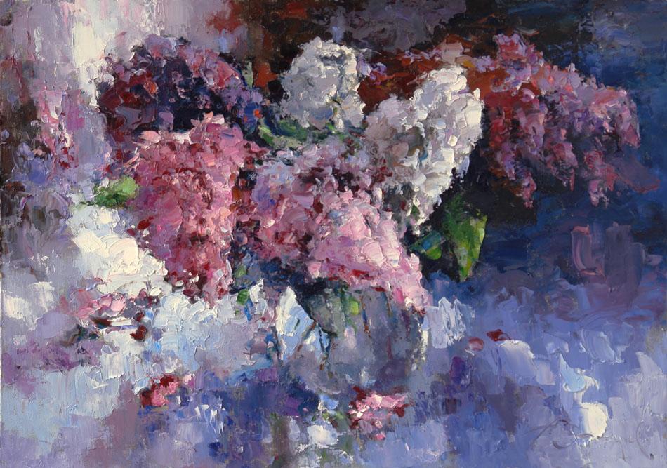 Сирень, Алексей Зайцев- цветочный натюрморт картина, белая розовая сирень