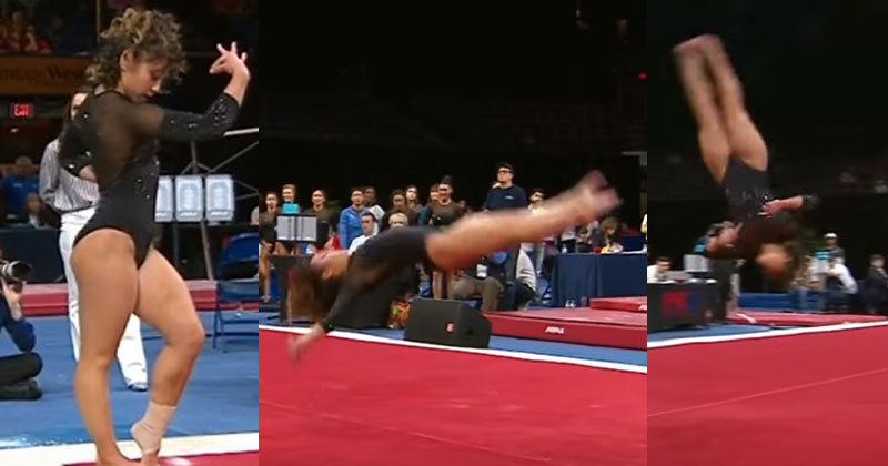 Гимнастка поразила всех присутствующих, продемонстрировав сложные акробатические элементы