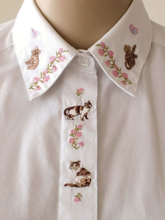Embroidered Cat Collar Shirt - icouldbegoodforyou @ etsy: