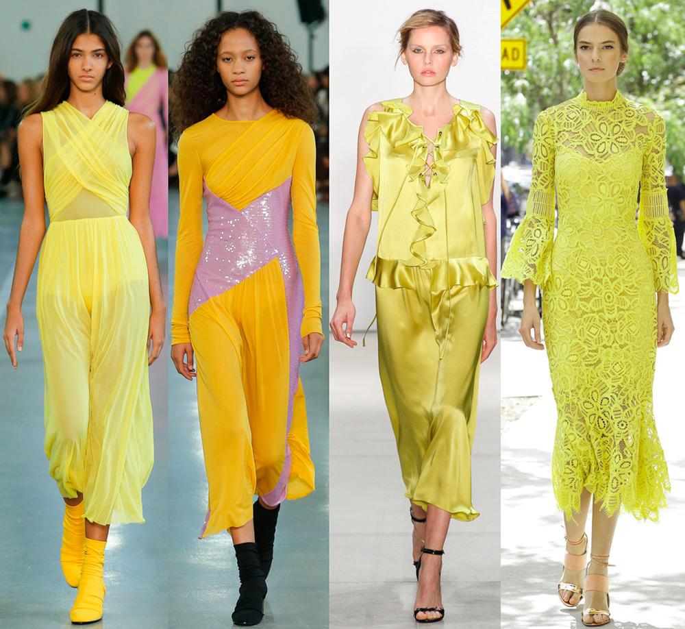 Желтые платья и модные тенденции