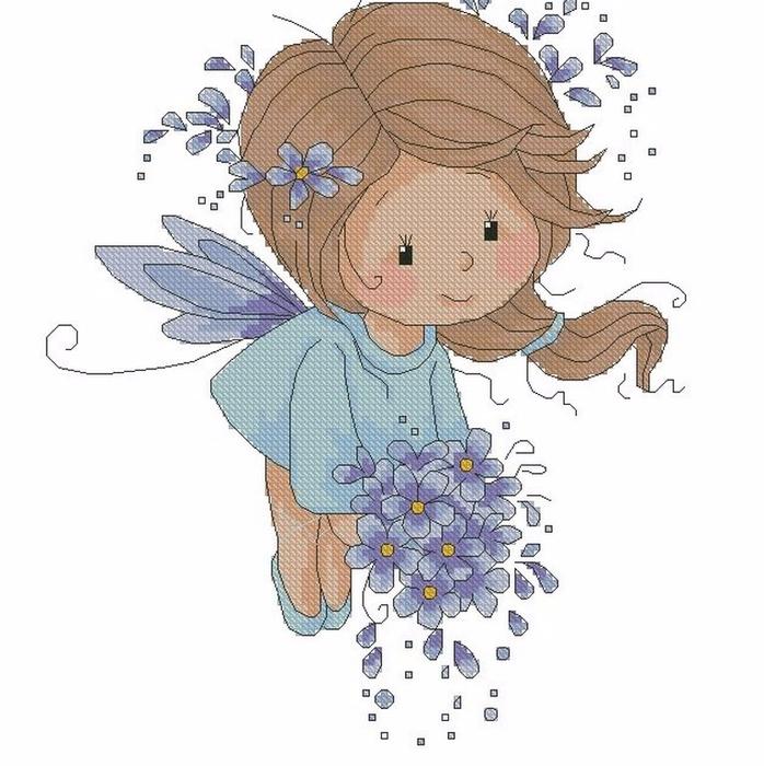 """Детская вышивка — """"Голубая фея"""" (со схемой)"""