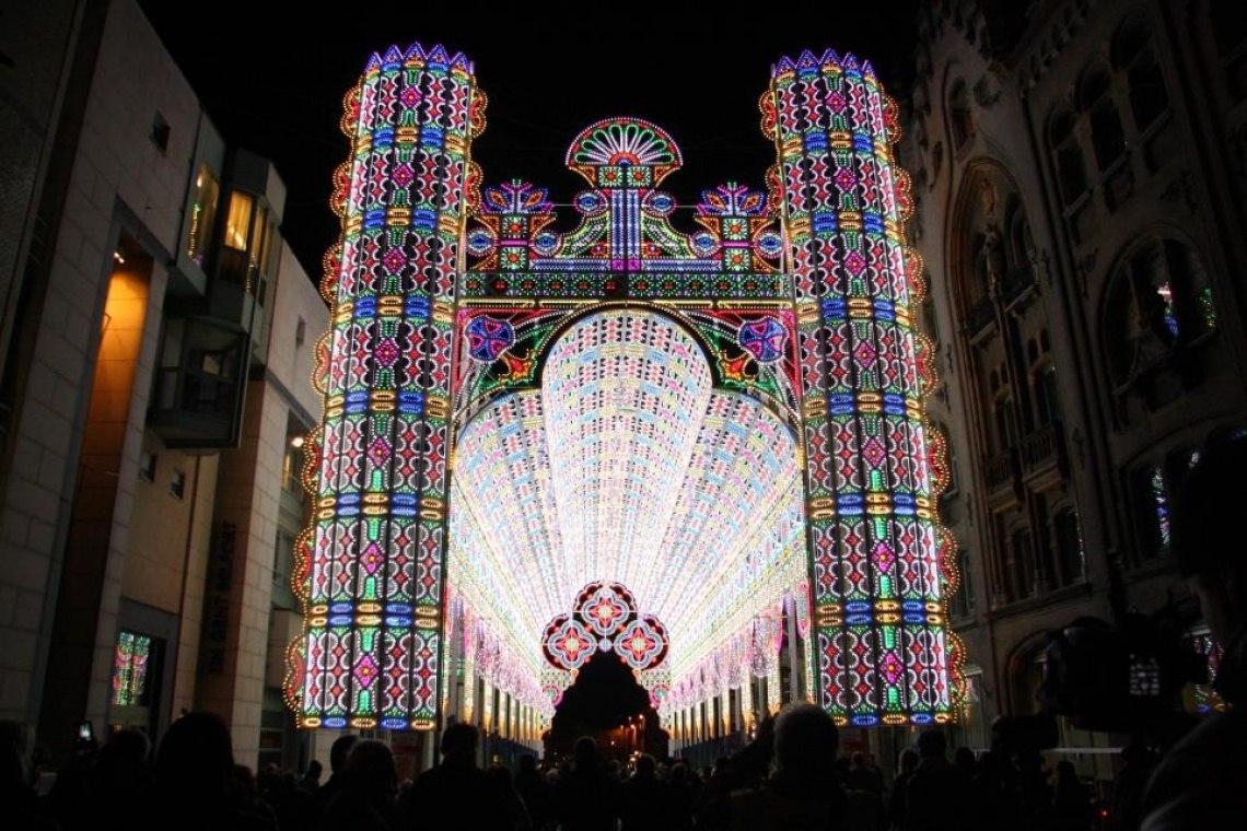 Собор из светодиодов. Город Гент, Бельгия