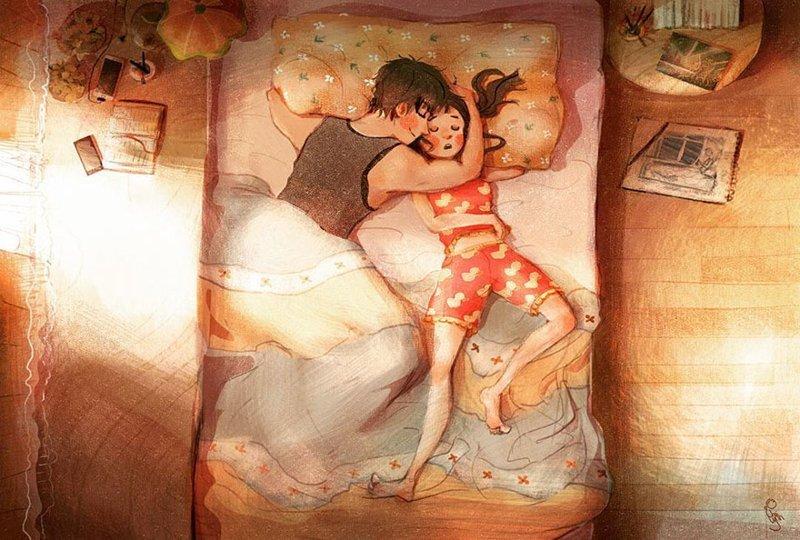 Ночью он будет обнимать тебя, оберегая от всего мира и спасая от страшных снов Любовь, Любовь . нежность . иллюстрация. художник, иллюстратор, иллюстрации, мимими, мужчина и женщина, чувства