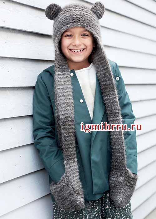 детская шапочка-шарф с ушками и карманами